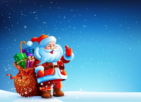De Kerstman in de sneeuw met een zak van giften Stock Illustratie