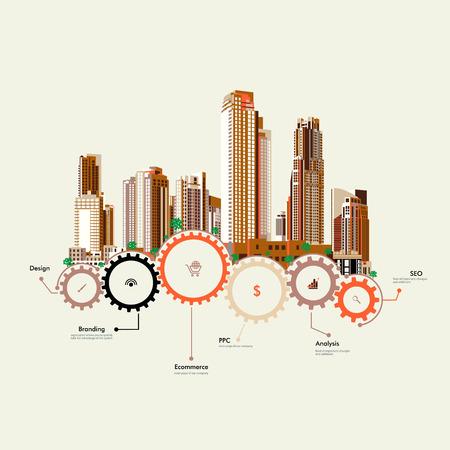 Rascacielos de pie en los engranajes Vectores