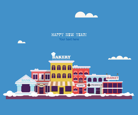 small town: Set buildings of small business flat design