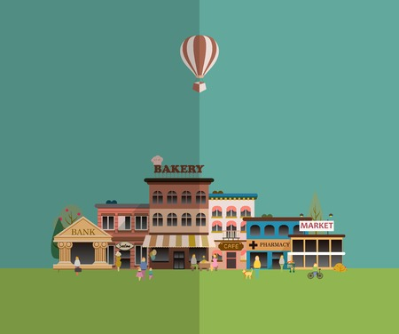 small business: Set buildings of small business flat design