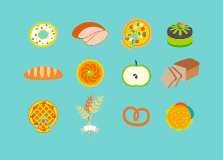 fruitcake: Icon set with pastries.
