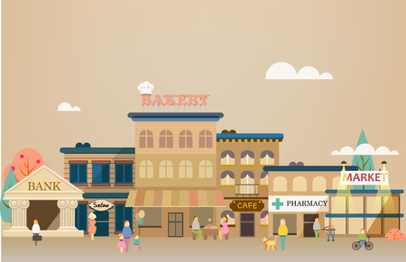 small: Set buildings of small business flat design