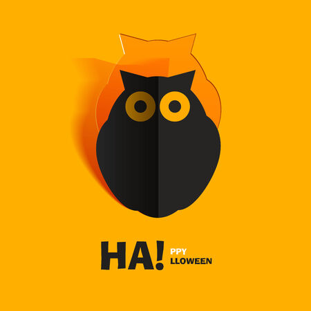 halloween concept: Owl cut out of paper Illustration