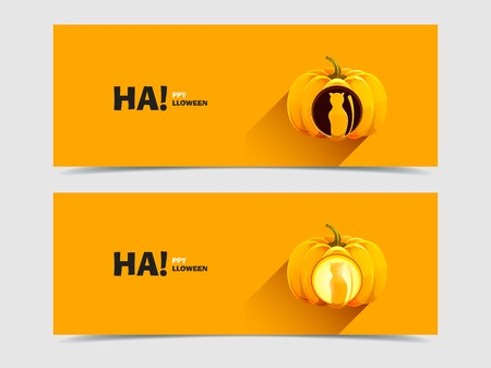 Halloween pumpkins with a carved cat Vector