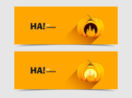 Halloween pumpkins with a carved  Vector