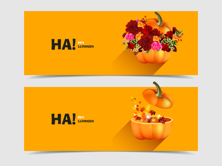 Halloween pumpkins with flowers and maple leaves Vector