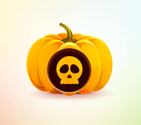 Halloween pumpkin with a carved skull Vector