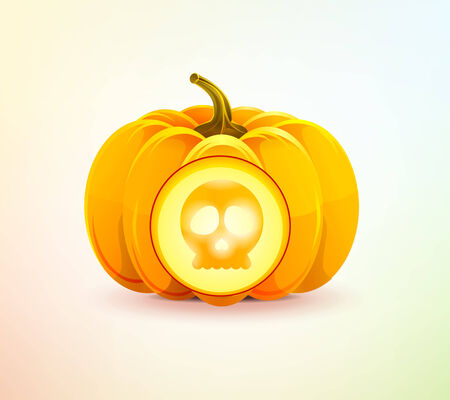 Halloween pumpkin with skull shining from inside Vector