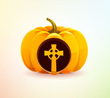 Halloween pumpkin with a carved grave cross Vector