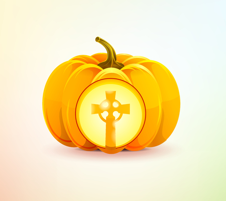 Halloween pumpkin with grave cross shining Vector