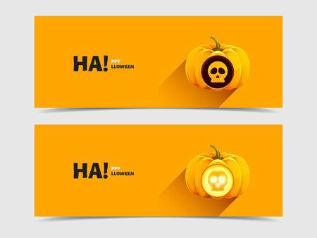 Set of banners Halloween pumpkins with skull Vector