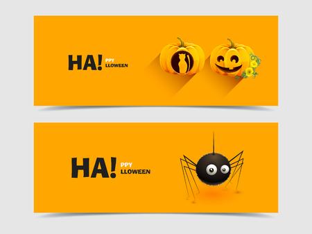 Merry pumpkin for Halloween and spider Vector