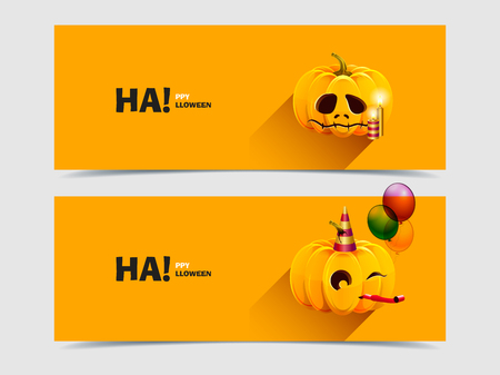 Halloween pumpkin with balloons and candles Vector