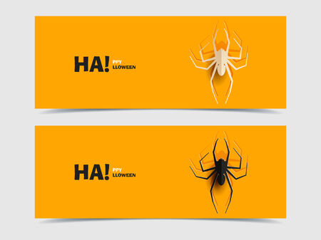 Set of two vector banners with spider cut out Vector
