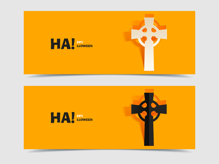 Set of two vector banners with carved grave cross Vector