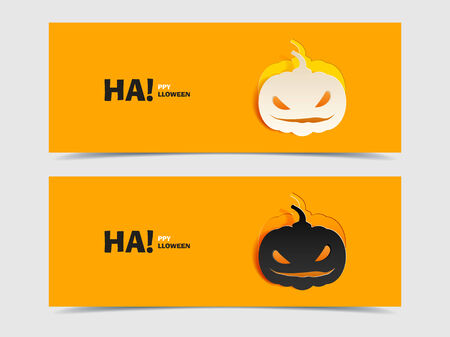 Set of two vector banners with pumpkin cut out of paper. Flat design. Black and wight smile pumpkin paper cut out from the background. Vector illustration for Halloween. Happy Halloween. Happy autumn. Vector