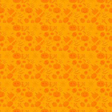 Vector illustration of seamless patterns for a happy Halloween party. Set of light orange illustrations for Halloween in cartoon style. Use for brochures, printed materials, banner, greeting, card. Vector