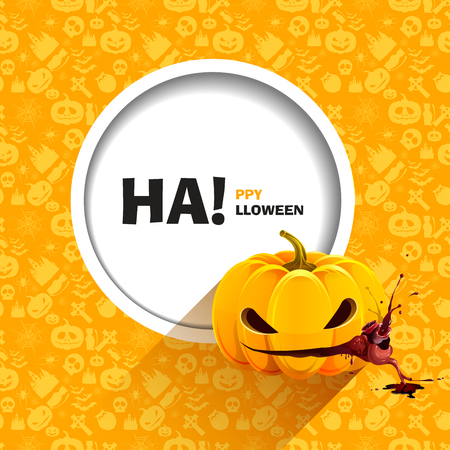 Vector illustration of seamless patterns for a happy Halloween party. Pumpkin eats heart with splashes of blood. Use for brochures, printed materials, banner, greeting, card. Vector