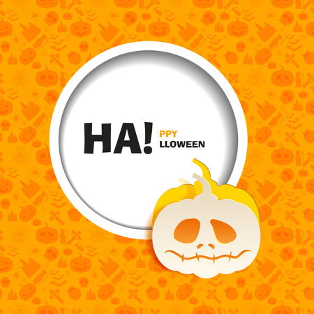 out of use: Vector illustration of orange seamless patterns for a happy Halloween party. Flat design. Wight sad pumpkin paper cut out from the background. Use for brochures, printed materials, banner, greeting Illustration
