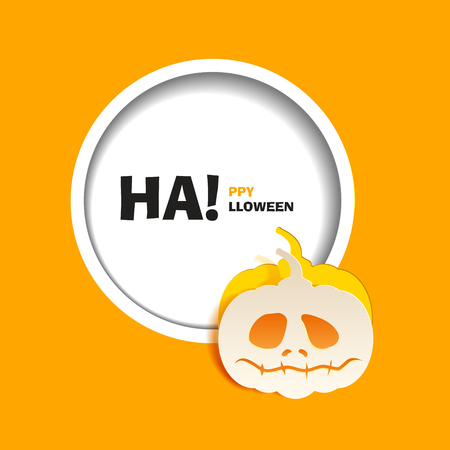 out of use: Vector illustration for a happy Halloween party. Flat design. Wight sad pumpkin paper cut out from the background. Use for brochures, printed materials, banner, greeting, card Illustration