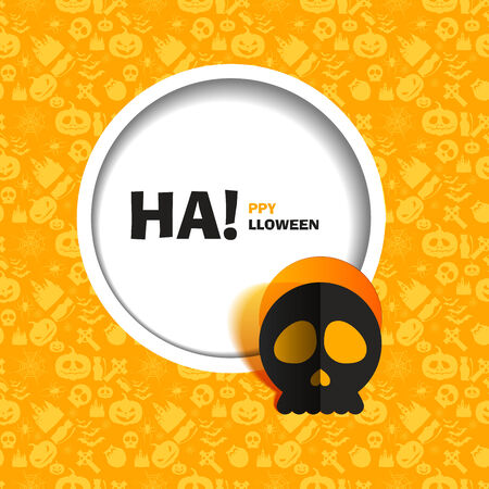 out of use: Vector illustration of orange seamless patterns for a happy Halloween party. Flat design. Black skull paper cut out from the background. Use for brochures, printed materials, banner, greeting, card