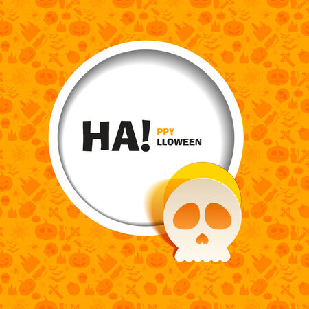 out of use: Vector illustration of yellow seamless patterns for a happy Halloween party. Flat design. Wight skull paper cut out from the background. Use for brochures, printed materials, banner, greeting, card