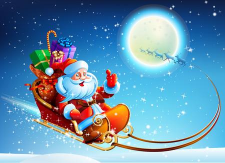 renna: Babbo Natale in una slitta su vettore di sfondo di luna