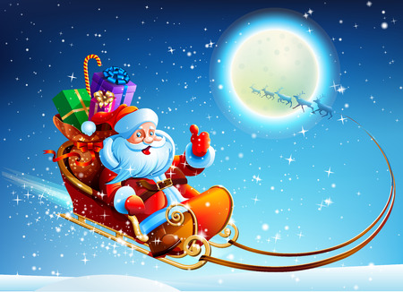 claus: Santa Claus in a sleigh on vector moon background