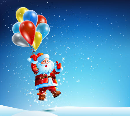 snow drifts: Santa Claus flies on a colored balloon starry Christmas night