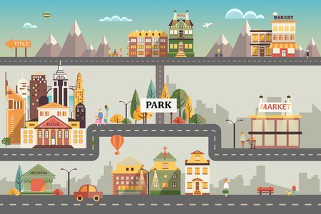 information symbol: Set of buildings in the style of small business flat design. Roads and city against the sky and snow-capped mountains. Architecture of a small town market, salon, pharmacy, bakery, bank, coffee shop Illustration