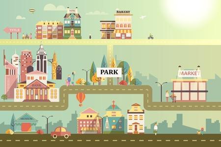 hombres ejecutivos: Conjunto de edificios en el estilo de dise�o plano de la peque�a empresa. Carreteras y ciudad contra el cielo y el sol. Arquitectura de un peque�o mercado de la ciudad, sal�n de belleza, farmacia, panader�a, banco, tienda de caf�