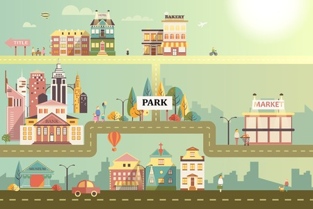 Set of buildings in the style of small business flat design. Roads and city against the sky and sun. Architecture of a small town market, salon, pharmacy, bakery, bank, coffee shop Vector