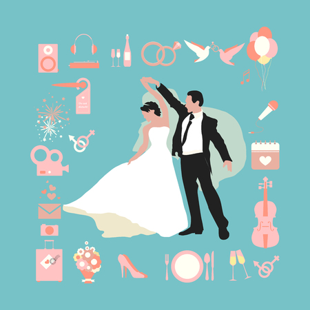 Wedding info graphics. Set of wedding icons in the flat design. Icons with a wedding theme for wedding info graphic. Silhouettes of the bride and groom are drawn to flat style. Dance husband and wife Vector