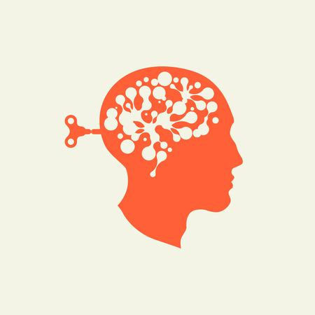 Silhouette head with the key men in the back. Brain Starts key. Including the brain. Included in the work. The generation of ideas. Brainstorming. The search for solutions. Neurons in the brain.