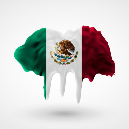 colors paint: Flag of Mexico painted colors. Blot with paint streaks with the national colors. Independence Day.  Use for brochures, printed materials, icons, signs,  elements, etc.