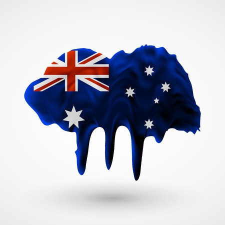 australian flag: Australian flag painted colors. Blot with paint streaks with the national colors. Independence Day.  Use for brochures, printed materials, icons, signs,  elements, etc.