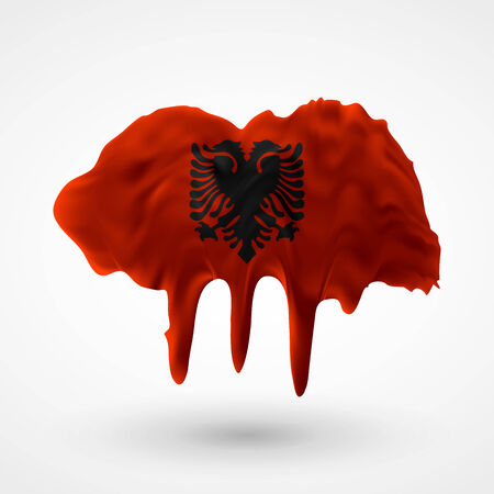 colors paint: Flag of Albania painted colors. Blot with paint streaks with the national colors. Independence Day.  Use for brochures, printed materials, icons, signs,  elements, etc.