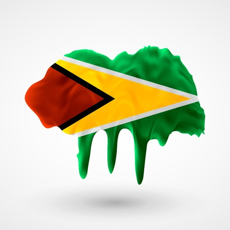 colors paint: Flag of Guyana painted colors. Blot with paint streaks with the national colors. Independence Day.  Use for brochures, printed materials, icons, signs,  elements, etc.