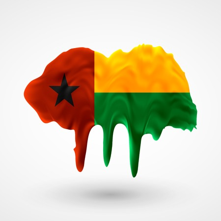 colors paint: Flag of Guinea Bissau painted colors. Blot with paint streaks with the national colors. Independence Day.  Use for brochures, printed materials, icons, signs,  elements, etc.