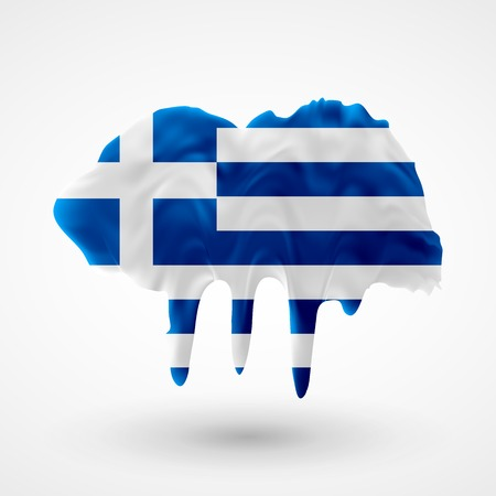 colors paint: Flag of Greece painted colors. Blot with paint streaks with the national colors. Independence Day.  Use for brochures, printed materials, icons, signs,  elements, etc.