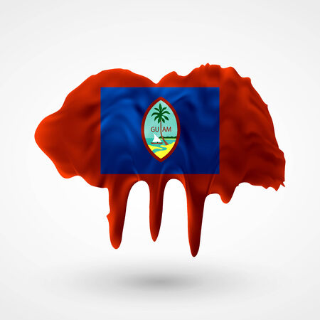 colors paint: Flag of Guam painted colors. Blot with paint streaks with the national colors. Independence Day.  Use for brochures, printed materials, icons, signs,  elements, etc. Illustration