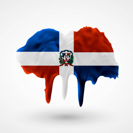 colors paint: Flag of Dominican Republic painted colors. Blot with paint streaks with the national colors. Independence Day.  Use for brochures, printed materials, icons, signs,  elements, etc.