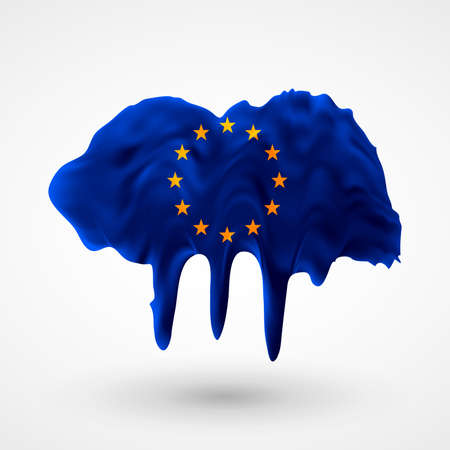 colors paint: European Union flag painted colors. Blot with paint streaks with the national colors. Independence Day.  Use for brochures, printed materials, icons, signs,  elements, etc. Illustration