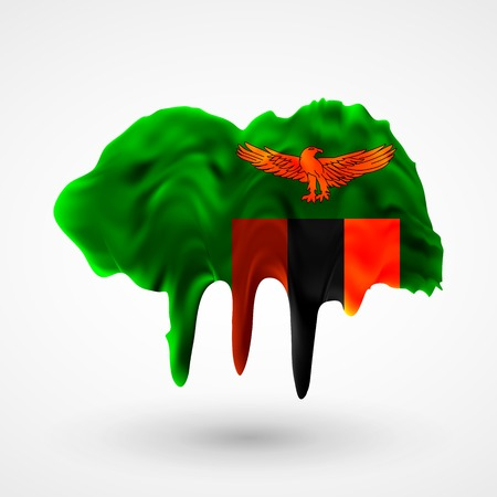 colors paint: Flag of Zambia painted colors. Blot with paint streaks with the national colors. Independence Day.  Use for brochures, printed materials, icons, signs,  elements, etc. Illustration