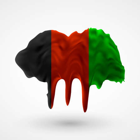 colors paint: Flag of Afghanistan painted colors. Blot with paint streaks with the national colors. Independence Day.  Illustration