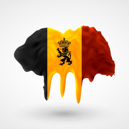 colors paint: Flag of Belgium painted colors. Blot with paint streaks with the national colors. Independence Day.  Use for brochures, printed materials, icons, logos, signs,  elements, etc. Illustration