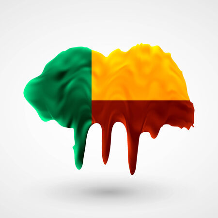 colors paint: Flag of Benin painted colors. Blot with paint streaks with the national colors. Independence Day.  Use for brochures, printed materials, icons, logos, signs,  elements, etc.