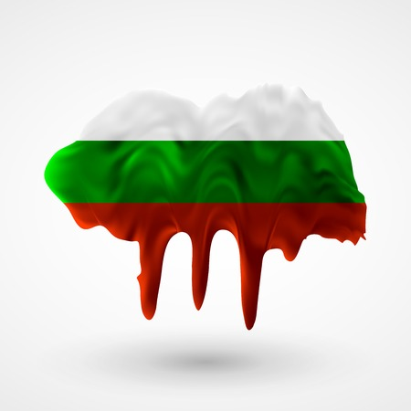 colors paint: Flag of Bulgaria painted colors. Blot with paint streaks with the national colors. Independence Day.  Use for brochures, printed materials, icons,  signs,  elements, etc.