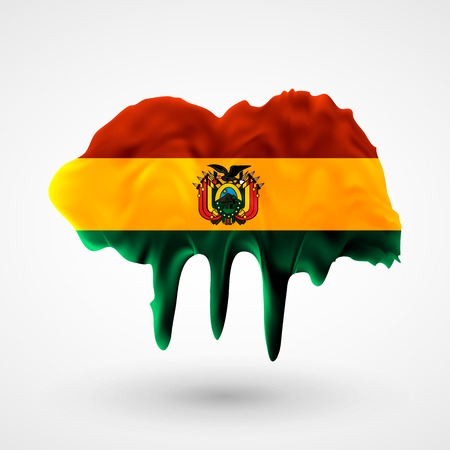 colors paint: Flag of Bolivia painted colors. Blot with paint streaks with the national colors. Independence Day.  Use for brochures, printed materials, icons, logos, signs,  elements, etc.