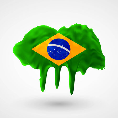 colors paint: Flag of Brazil painted colors. Blot with paint streaks with the national colors. Independence Day.  Use for brochures, printed materials, icons,  signs,  elements, etc.